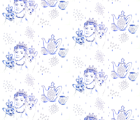 The Queen and her Tea in the Rain fabric by mastermanceramics on Spoonflower - custom fabric