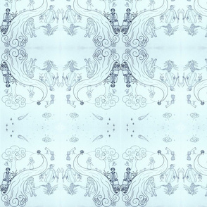 Women of Science Toile - Navy Blue