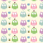 Owl Friends -Pink