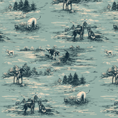 Labrador Toile in Duck Egg Blue and Teal