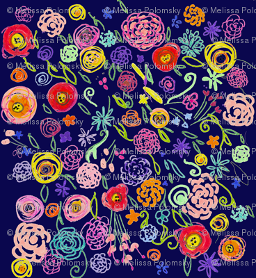 Colorful Floral Doodle on Navy Background