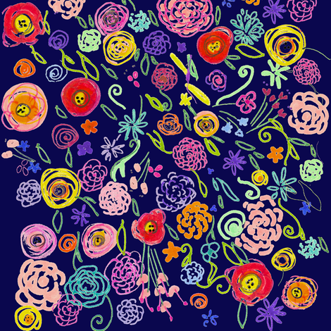 Colorful Floral Doodle on Navy Background fabric by theartwerks on Spoonflower - custom fabric