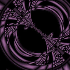 Purple on Black Ovals Abstract