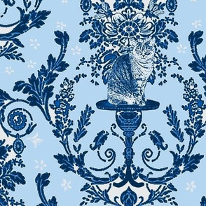 Cat Damask Delft Blues