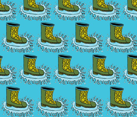 rain_ boot_spring_welcome fabric by shy_bunny on Spoonflower - custom fabric