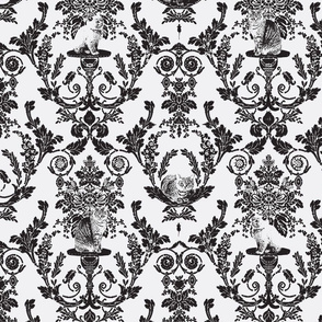 Cat Damask in Black and White