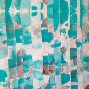 Turquoise and Silver Collage Print