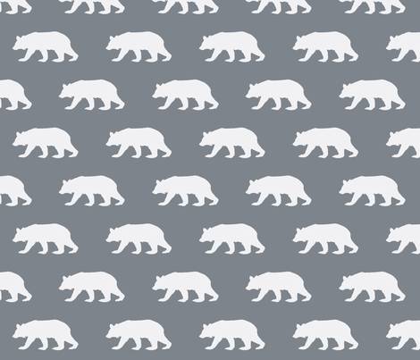 Bear Down in Charcoal Grey (Half Scale) fabric by oliveclothco on Spoonflower - custom fabric