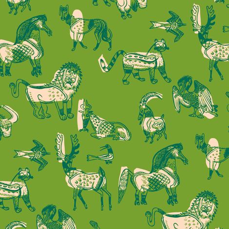 animal kingdom in green fabric by nlsd on Spoonflower - custom fabric