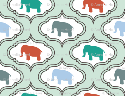 Mint Damask Elephant