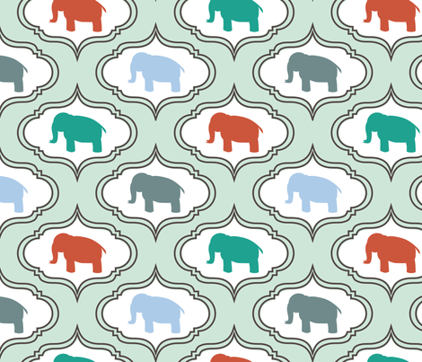 Mint Damask Elephant fabric by mrshervi on Spoonflower - custom fabric