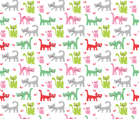 Cute Cat's playing fabric by josephineblay on Spoonflower - custom fabric