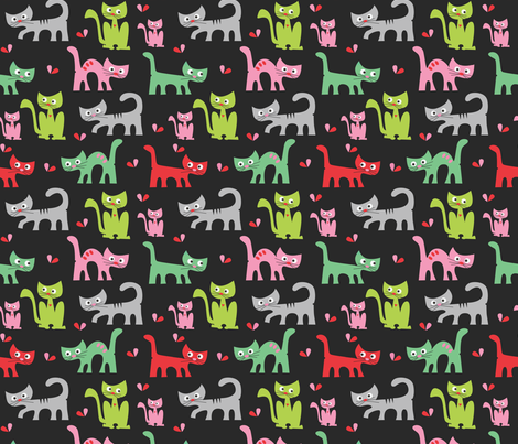 Cute Cat's in The Night fabric by josephineblay on Spoonflower - custom fabric