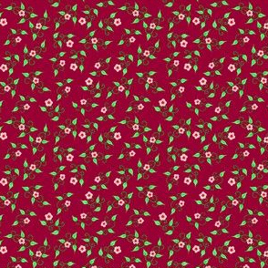 tiny_flowers_pink_on_burgundy_red