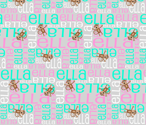 Personalised Name Design - Monkeys Grey Pink Aqua