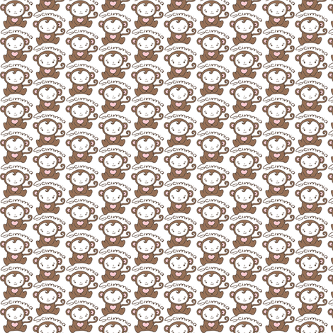 Monkey Blythe Sized - White fabric by hcorleybarto on Spoonflower - custom fabric