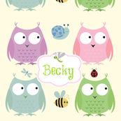 Owl Friends -Pink Personalized small label green text