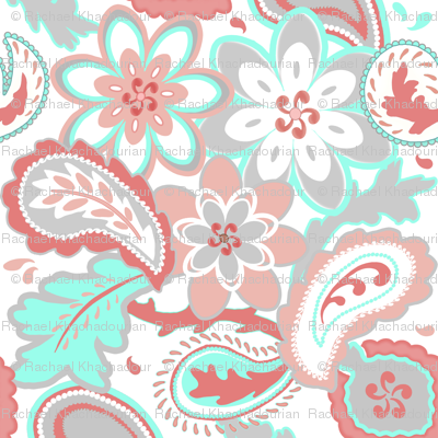 Coral, Mint and Gray Paisley