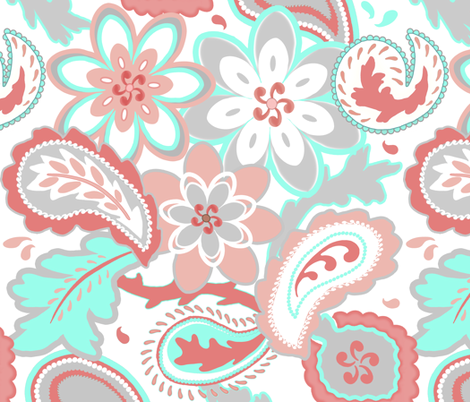 Coral, Mint and Gray Paisley fabric by todah on Spoonflower - custom fabric