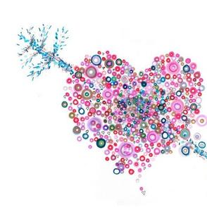abstract heart pointillist