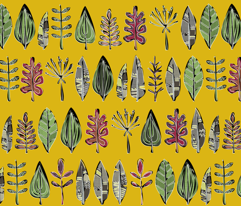 leaves and feathers saffron fabric by scrummy on Spoonflower - custom fabric