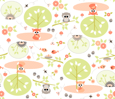 Woodland babies - bidirectional fabric by heleenvanbuul on Spoonflower - custom fabric