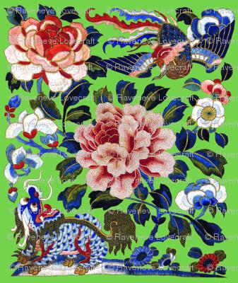 royal novelty thrones embroidery asian japanese china chinese oriental cheongsam unicorns phoenix birds kirin lion garden flowers imperial chinoiserie kings queens museum traditional rank regal korean kabuki geisha yuan ming qing dynasty tapestry kimono v