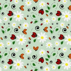 Ladybugs and Daisies in Green