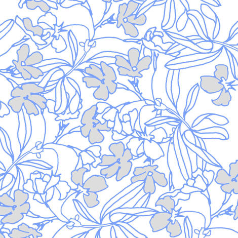 Floral Low Volume Blue fabric by joanmclemore on Spoonflower - custom fabric