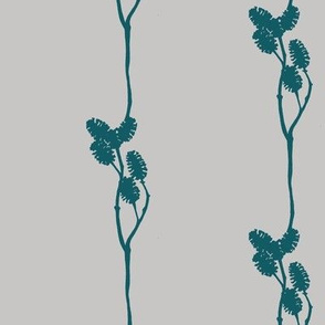 mini pine cone silhouette in teal on grey