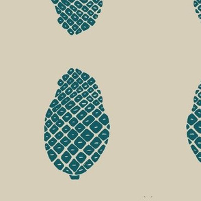 pine cone - teal on beige