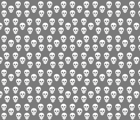 Skull White on Gray fabric by phatcatpatch on Spoonflower - custom fabric