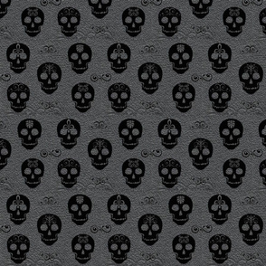Skull Black on Gray