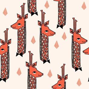 Giraffes - Champagne/Tea Rose/Blush/Coral by Andrea Lauren