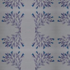 Blue Stripe Oval Floral