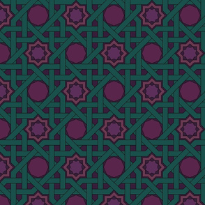 Alhambra Woven Octagons Teal Green and Wine