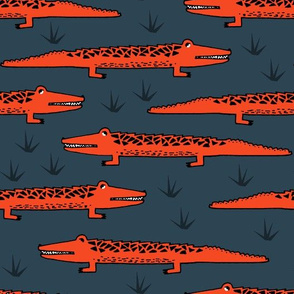 A congregation of Alligators - Parisian Blue/Vermillion/Black by Andrea Lauren