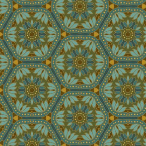 Hex Tile Flowers in blue