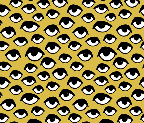 I See You - Eyes - Mustard/Black/White fabric by andrea_lauren on Spoonflower - custom fabric
