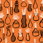 Garden Herbs - Kitchen Series - Orange/Black/White by Andrea Lauren
