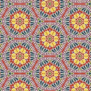 Hex Tile Flowers brights on red