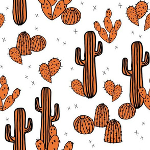 Cactus and Prickly Pears - Orange/White by Andrea Lauren