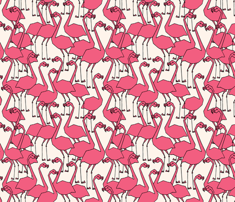 Flock of Flamingos - French Rose/Champagne by Andrea Lauren fabric by andrea_lauren on Spoonflower - custom fabric