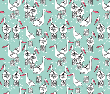 Pelicans - Pale Turquoise/French Rose/White by Andrea Lauren fabric by andrea_lauren on Spoonflower - custom fabric