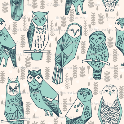 owl // geometric hand-drawn illustration by Andrea Lauren featuring hand-drawn original drawing seamless pattern prints