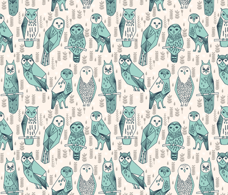 Parliament of Owls - Champagne/Pale Turquoise/Parisian Blue fabric by andrea_lauren on Spoonflower - custom fabric
