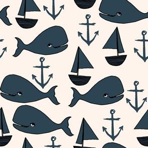 nautical whales // dark navy blue and cream kids nautical ocean anchors nautical nursery fabric andrea lauren fabric cute andrea lauren design