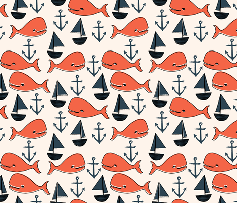 Nautical whales orange cream and dark navy blue kids for Nautical nursery fabric