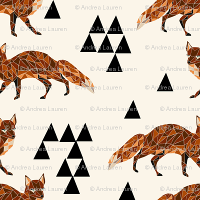 Geometric Fox - Cream by Andrea Lauren