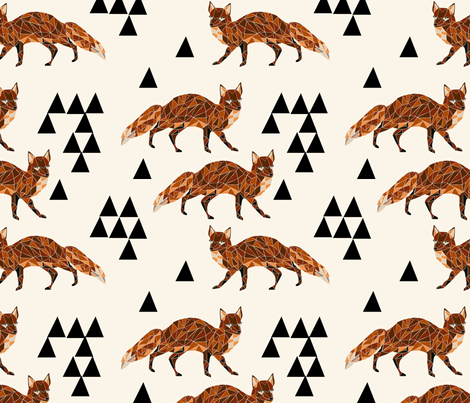 Geometric Fox - Cream by Andrea Lauren fabric by andrea_lauren on Spoonflower - custom fabric